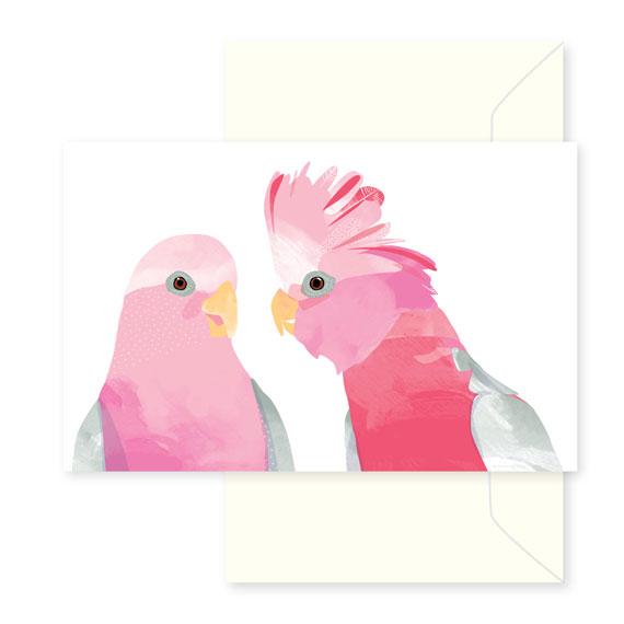 pink galahs greeting card