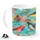 Tropical birds on bold background by Mount Vic and Me. Grab your mug today!
